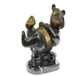 Lazy Chinese Panda Wildlife Bronze Sculpture