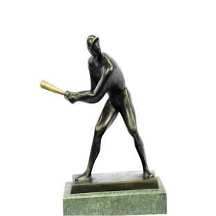 Mid Century Baseball Player Bronze Sculpture