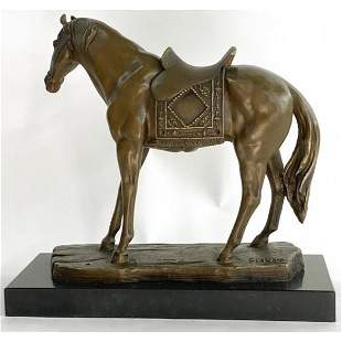 Horse with his Saddle Western Cowboy Bronze Sculpture
