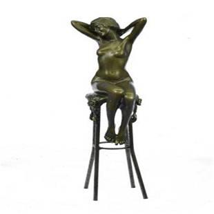 Model Sitting on Chair Bronze Sculpture
