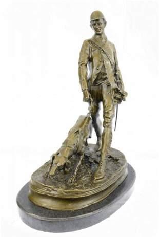 Fox Hunt Club Scent Hound Dog Hunter Bronze Sculpture
