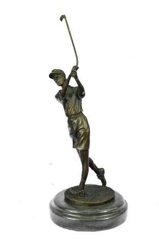 Female Golfing Bronze Sculpture