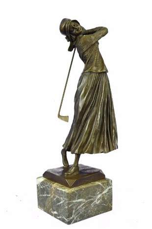 High Society English Lady Palying Golf Bronze Sculpture