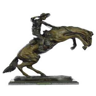 Cowboy on Horse Bronze Statue