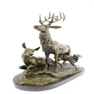 Deer Fawn Stag Buck Family Bronze Sculpture