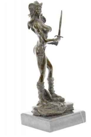 Sexy Amazonian Female Warrior Bronze Sculpture