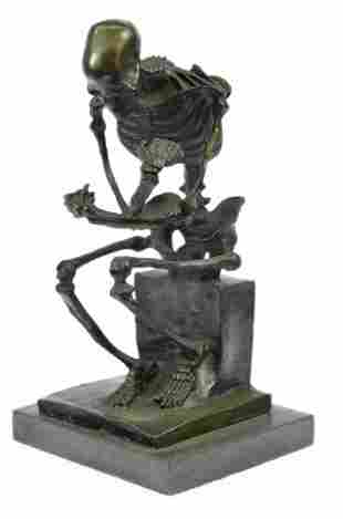 Skeleton thinker Bronze Sculpture