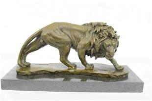 Wildlife Male Lion Bronze Sculpture
