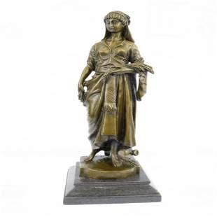 Maiden Girl Gold Patina Bronze Sculpture