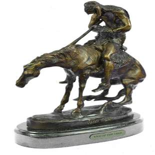 Man with Spear on Horse Bronze Sculpture
