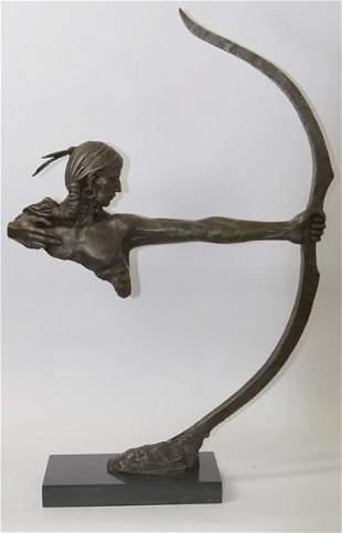 Archer Indian Warrior Bronze Sculpture