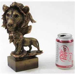 Male Lion Bust Cold Cast Bronze Sculpture