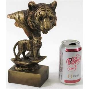 Tiger Head Bust Cold Cast Bronze Sculpture