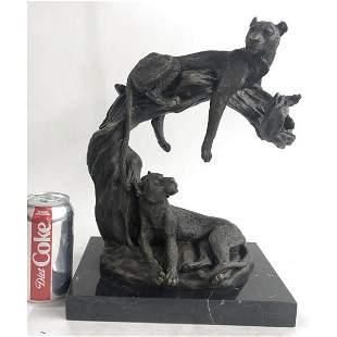 Wildlife African Lion and Baby Bust Bronze Sculpture