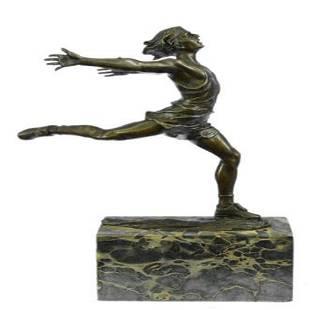 Track Runner Modernist Bronze Sculpture