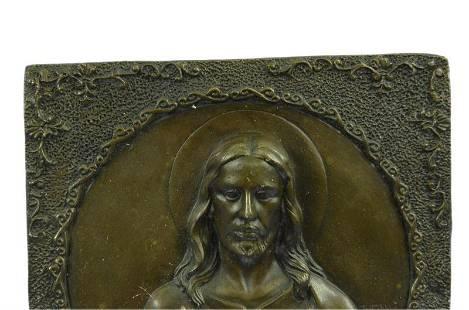 Jesus Christ and Angel Wall Mount Bronze Figurine