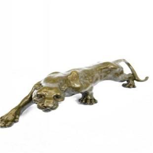 Sleek Cougar Lucky Bronze Sculpture