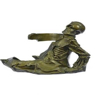 Skeleton Wine Bottle Holder Pure Bronze Sculpture