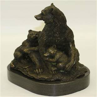 Bear with her two Cubs Bronze Sculpture