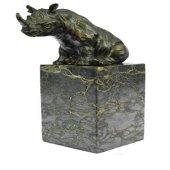 African Rhino Wild Life Bronze Sculpture