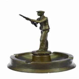 Hunter with Gun Ashtray Bronze Sculpture