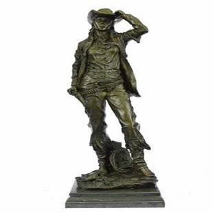 Western Art Cowgirl Bronze Sculpture