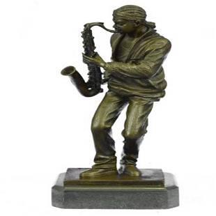 Saxophone Player Musician Bronze Sculpture