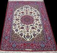 Breathtaking Signed Part Silk Fine Persian Isfahan Rug