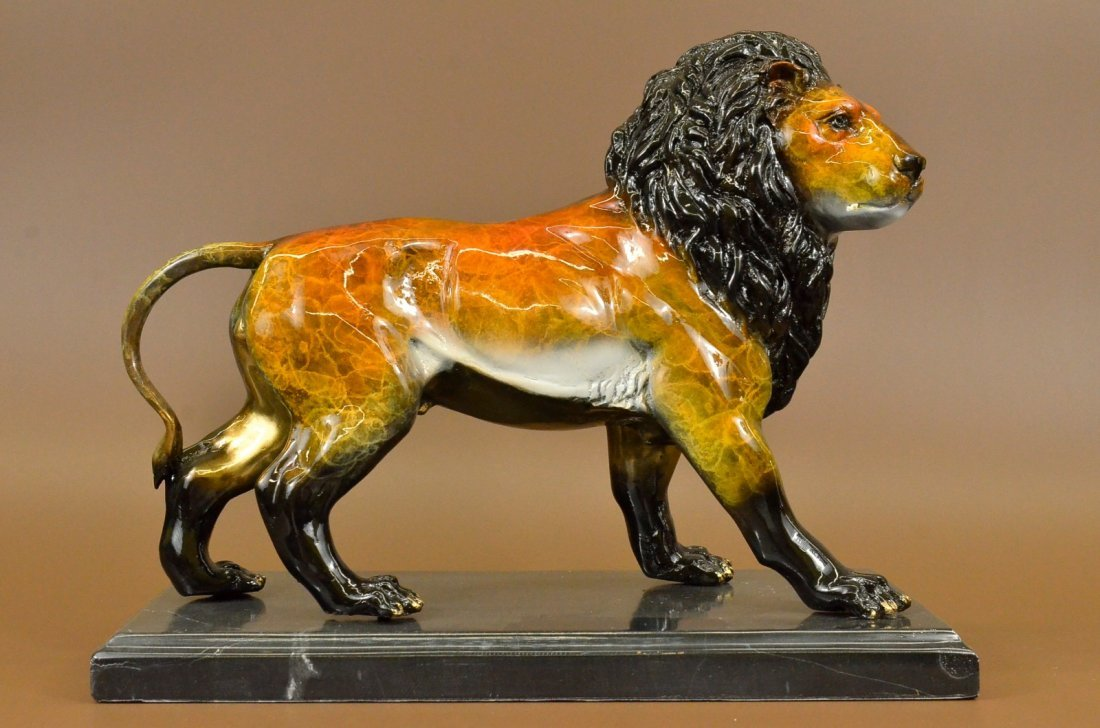 17 Lbs Great Detail Male Lion Bronze Sculpture Statue