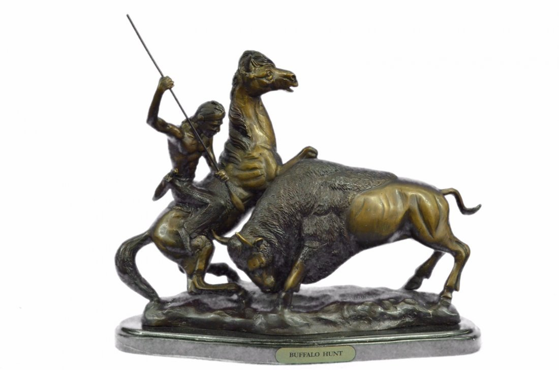 23 LBS Buffalo Hunt Solid Bronze Statue on Marble base
