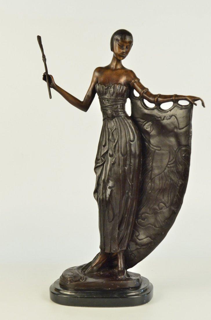 14 LBS Hot Cast Bronze On Marble Base Art Deco Dancer