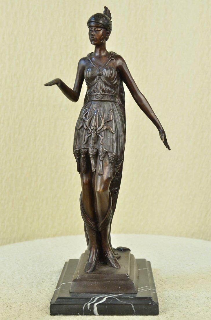 """14 LBS Art Deco Warrior Woman Bronze Statue (19""""X10"""")"""