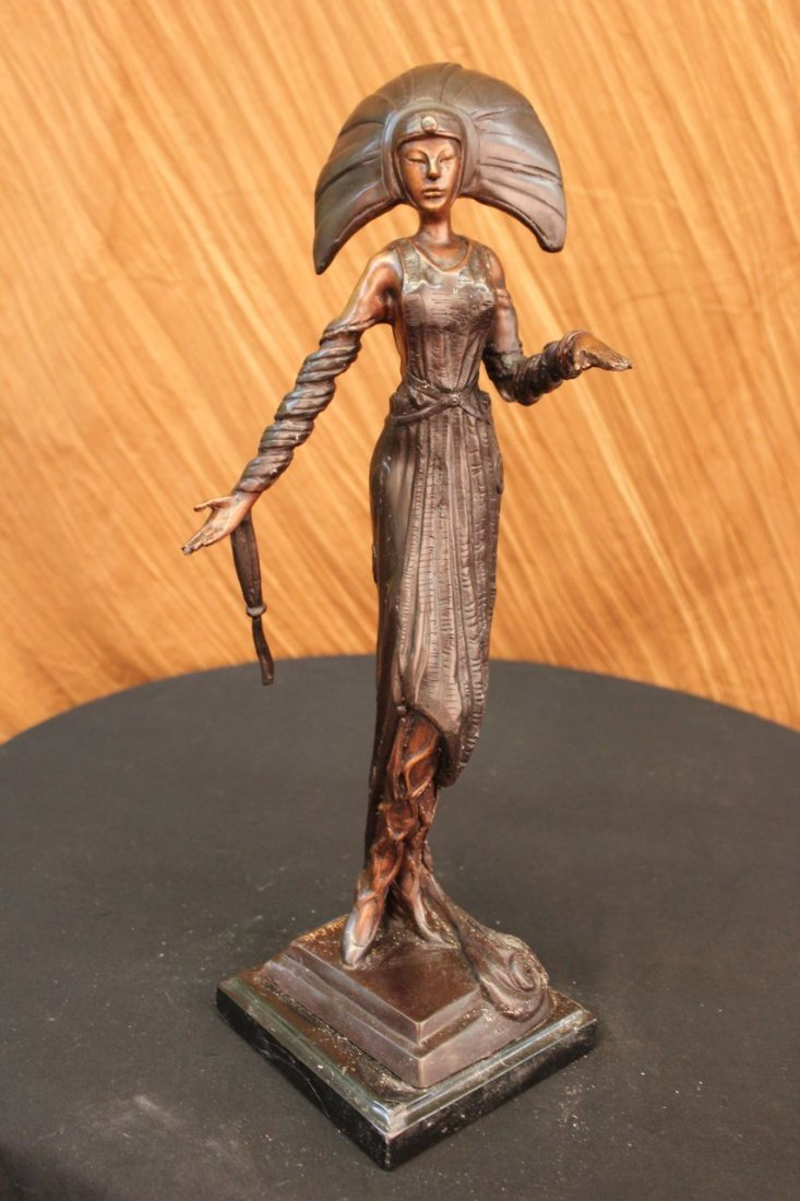 10 LBS Girl Byzantine Sculpture In Bronze on Marble