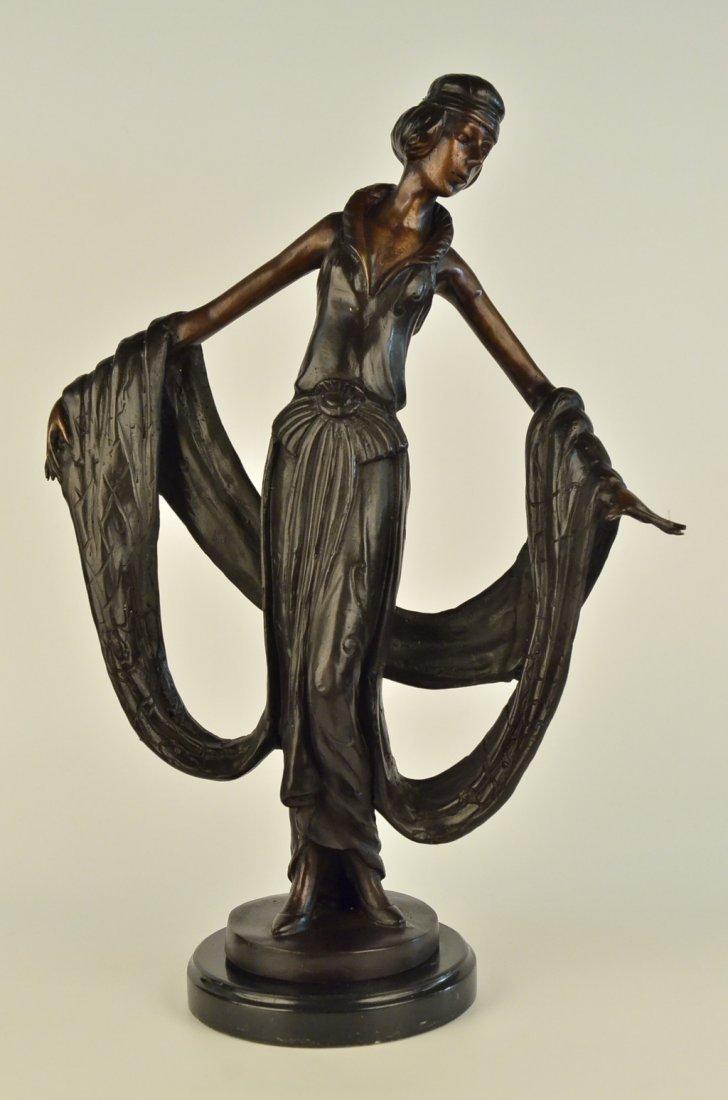 15 LBS Art Nouveau Ribbon Dancer Bronze Sculpture