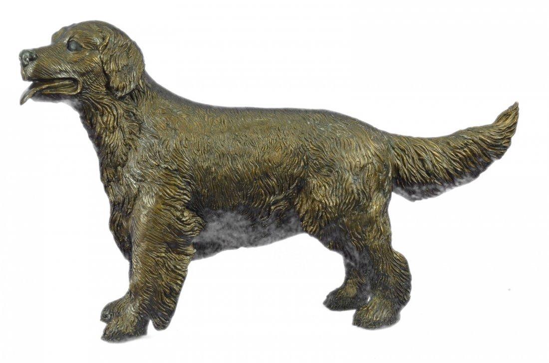 25 LBS Puppy Golden Retriever Dog Bronze Statue