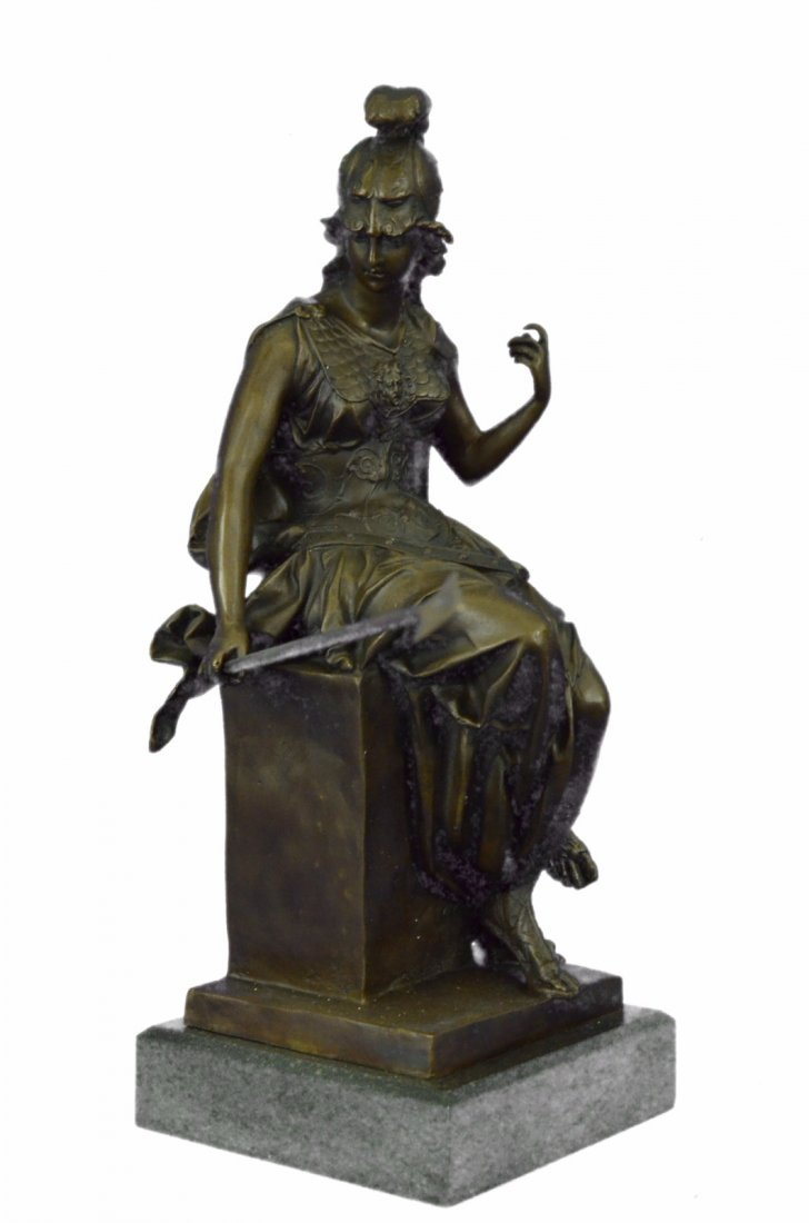 Female Greek Warrior Bronze Sculpture on Marble base