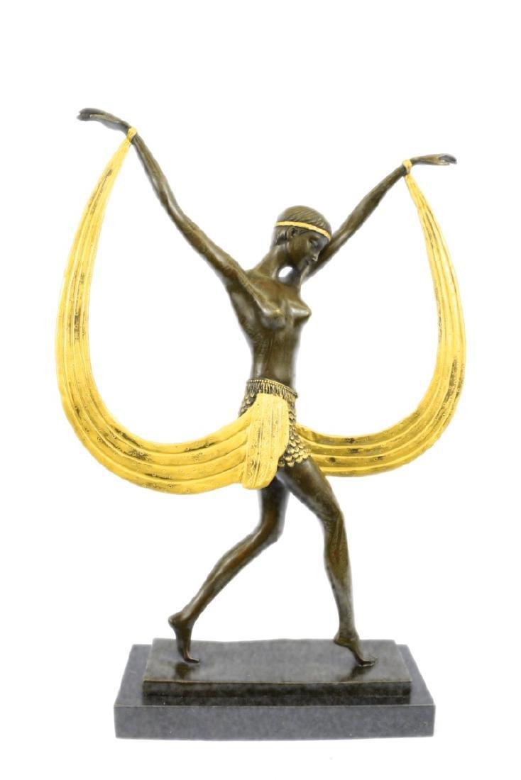 Mirval Ribbon Dancer Bronze Sculpture on marble base