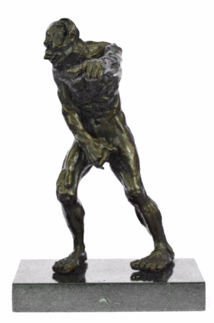 Devil Holding His Phallus Bronze Sculpture on Marble