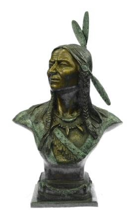 Native Indian Chief Bronze Bust Sculpture on marble