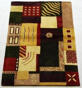 ALL NATURAL WOOL HAND TUFTED RUG 3x5