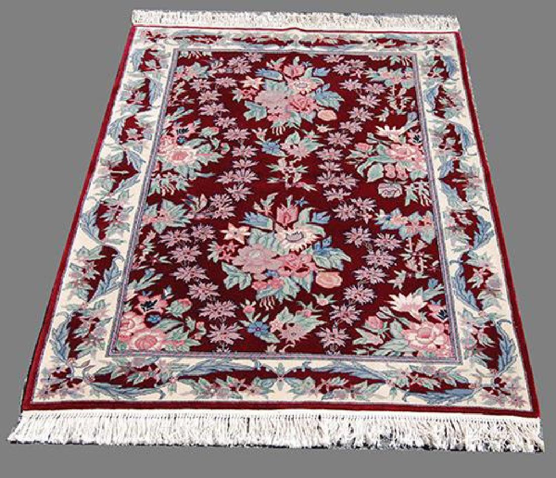 Stunning English Floral Contemporary Hand Woven Rug