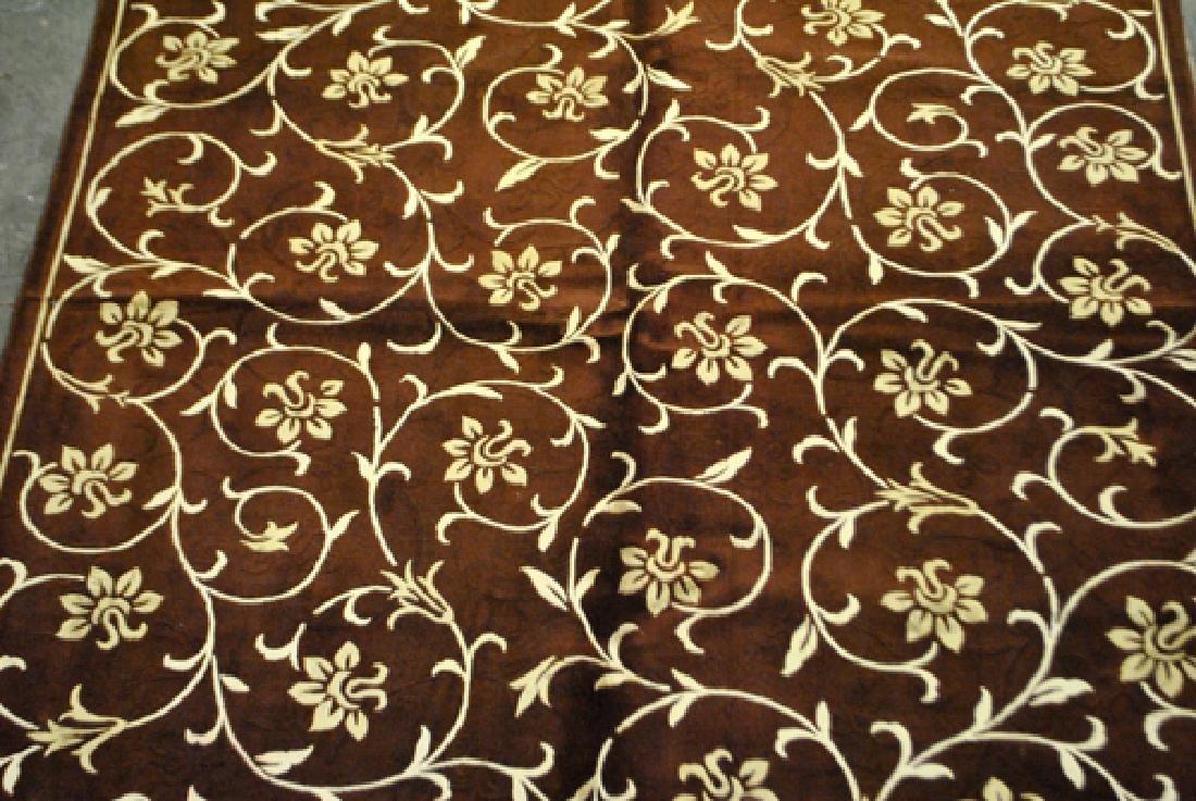 Contemporary Floral Design Wool/Art. Silk Turkish Rug - 2