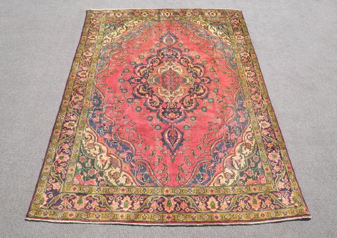 Gorgeously Contrasted Semi Antique Persian Tabriz