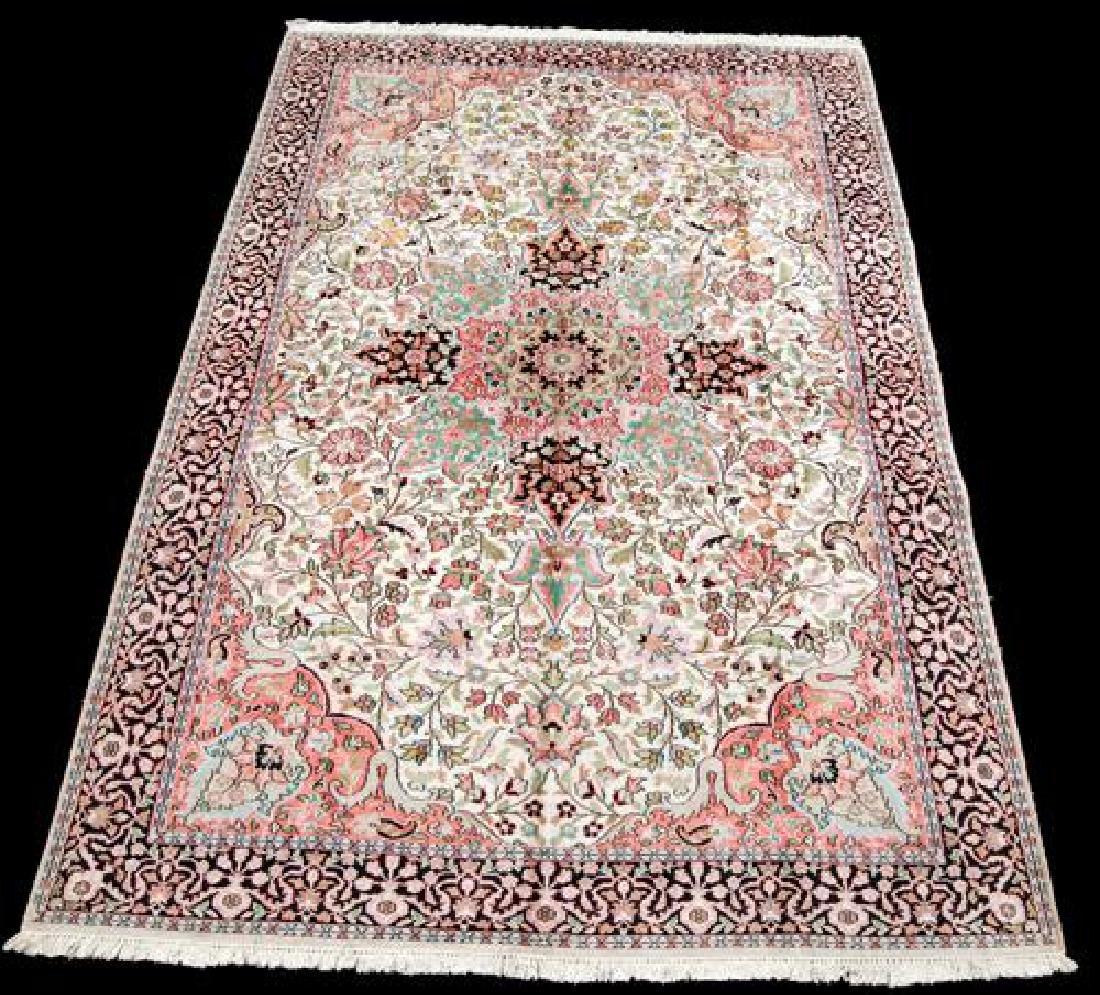 Handmade Silk Highlights Kashan 9.3x5.1