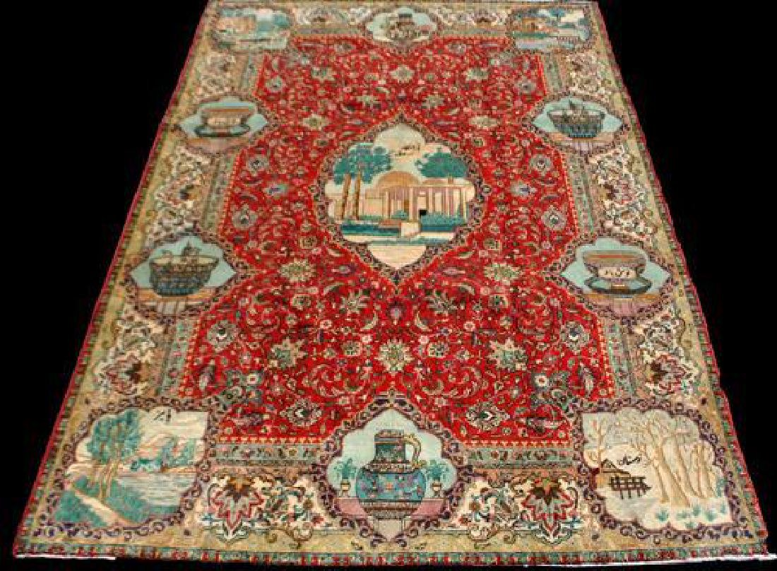 Rare Tribute to Saadi Semi Antique Persian Tabriz