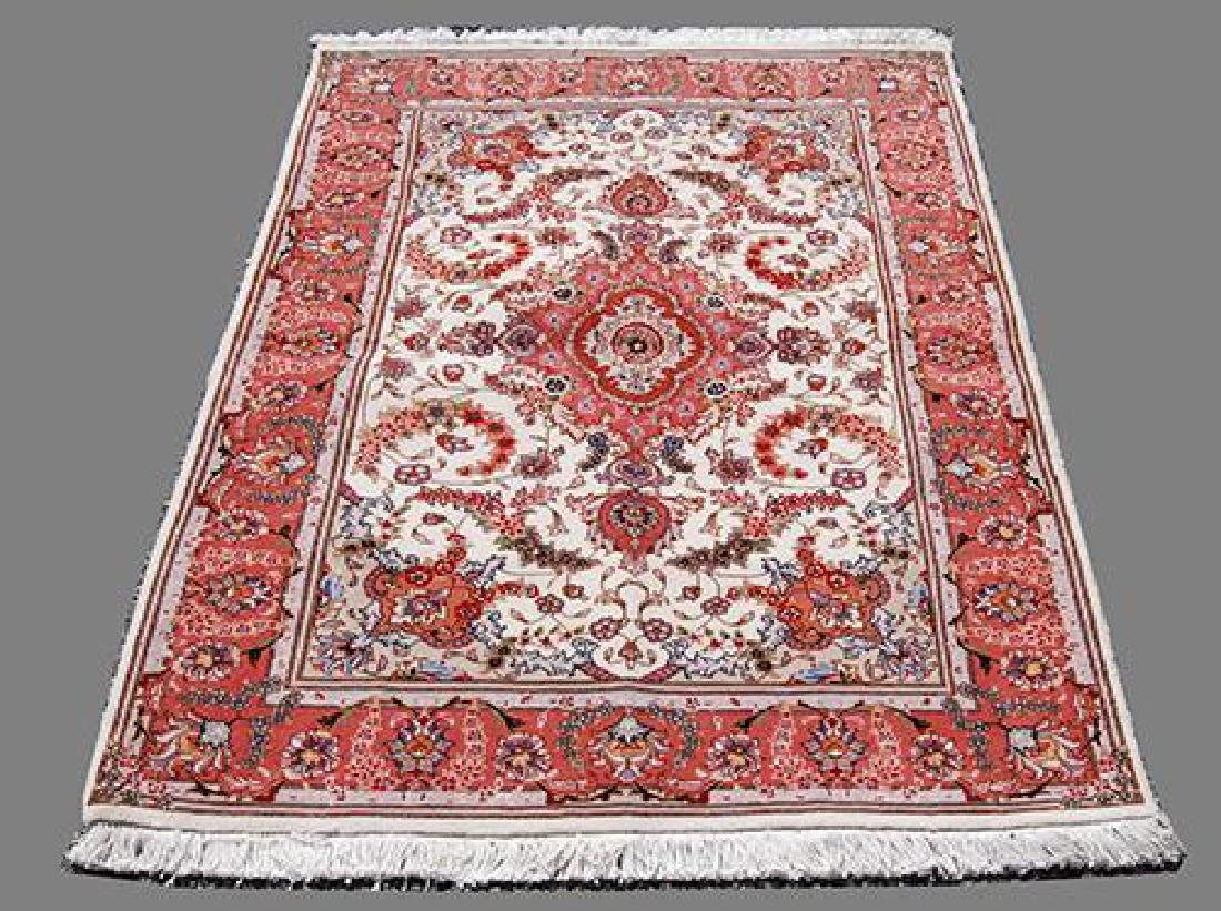 FASCINATING SILK HILIGHTED HAND WOVEN TABRIZ CREME RUG