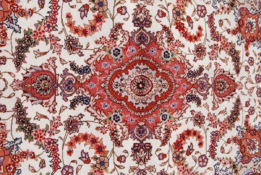 FASCINATING SILK HILIGHTED HAND WOVEN TABRIZ CREME RUG - 2
