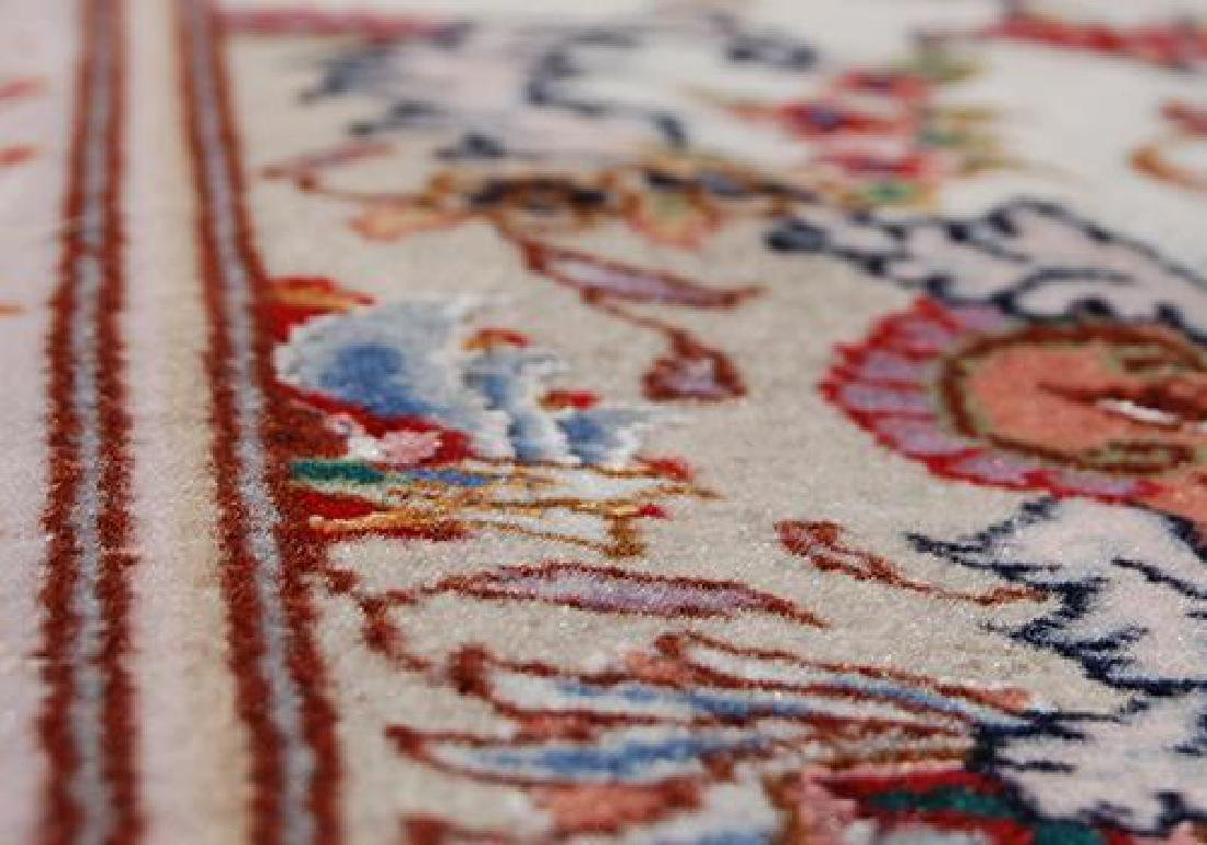 FASCINATING SILK HILIGHTED HAND WOVEN TABRIZ CREME RUG - 5