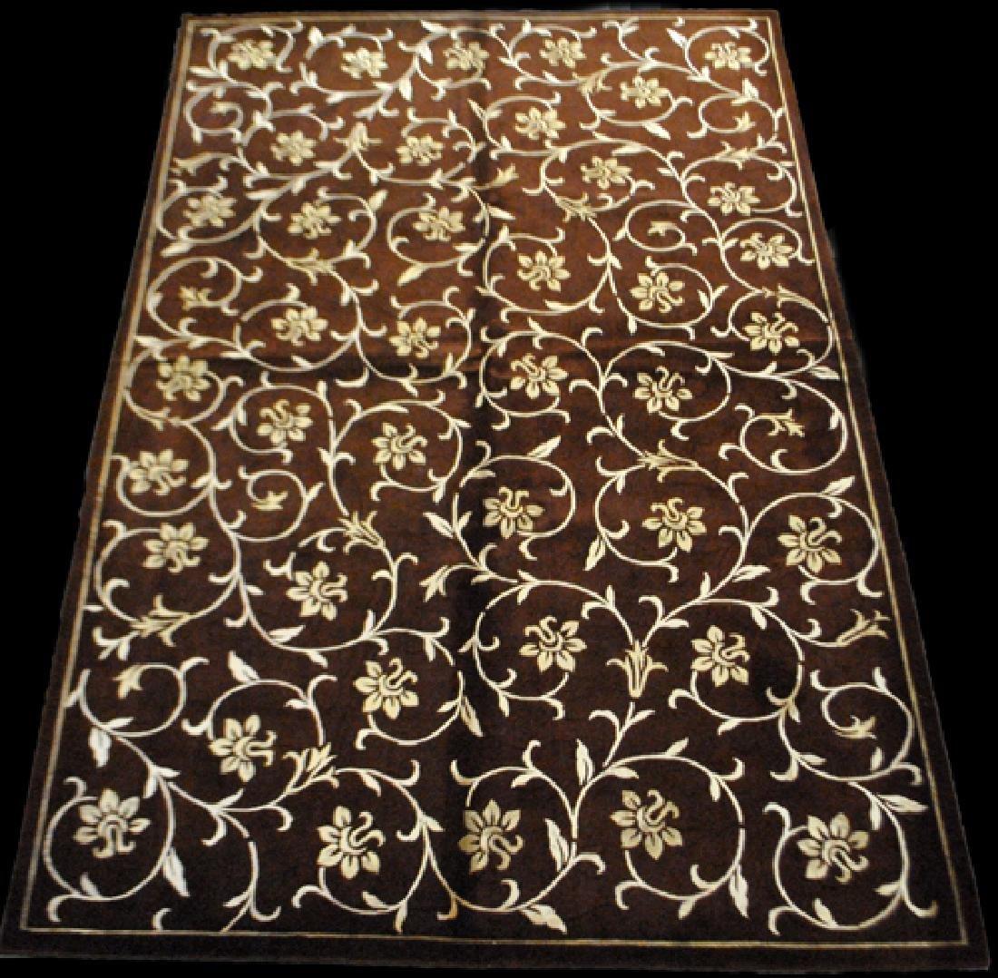 Contemporary Floral Design Wool/Art. Silk Turkish Rug