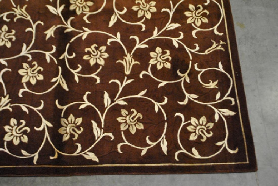 Contemporary Floral Design Wool/Art. Silk Turkish Rug - 3